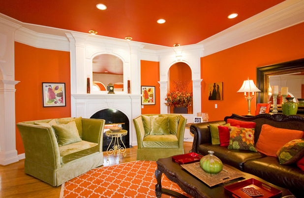 Traditional Orange Living Room