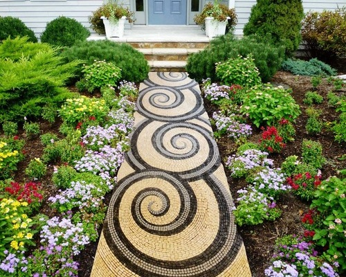 Walkway With a Flower Bed