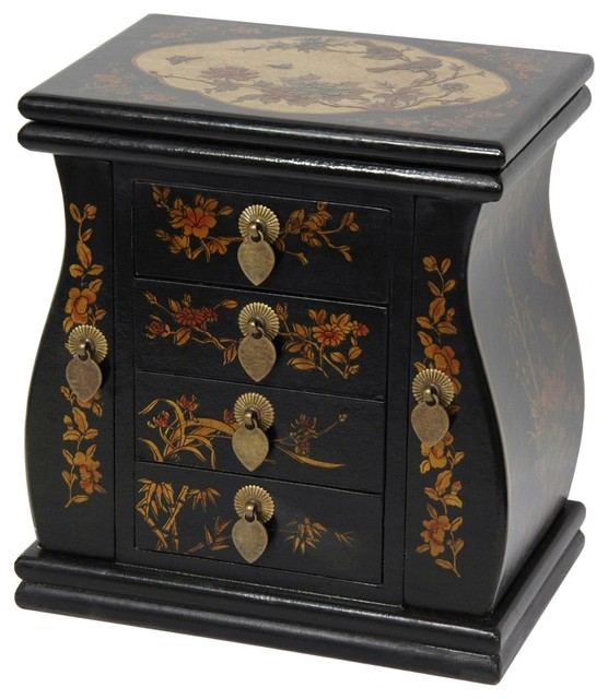 Black Lacquer Standing Mirror Jewelry Box