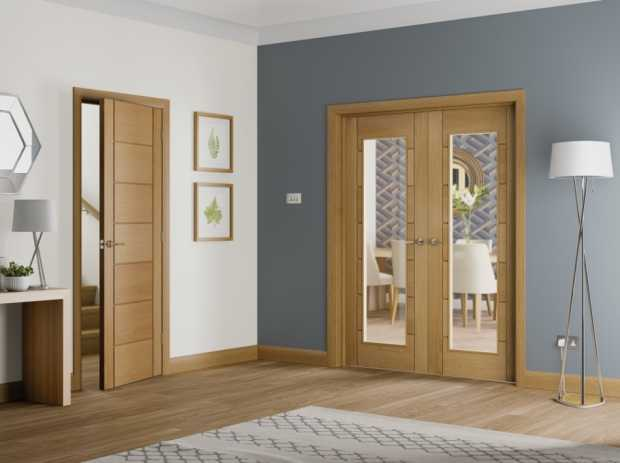 Oak Palermo Glazed French Doors