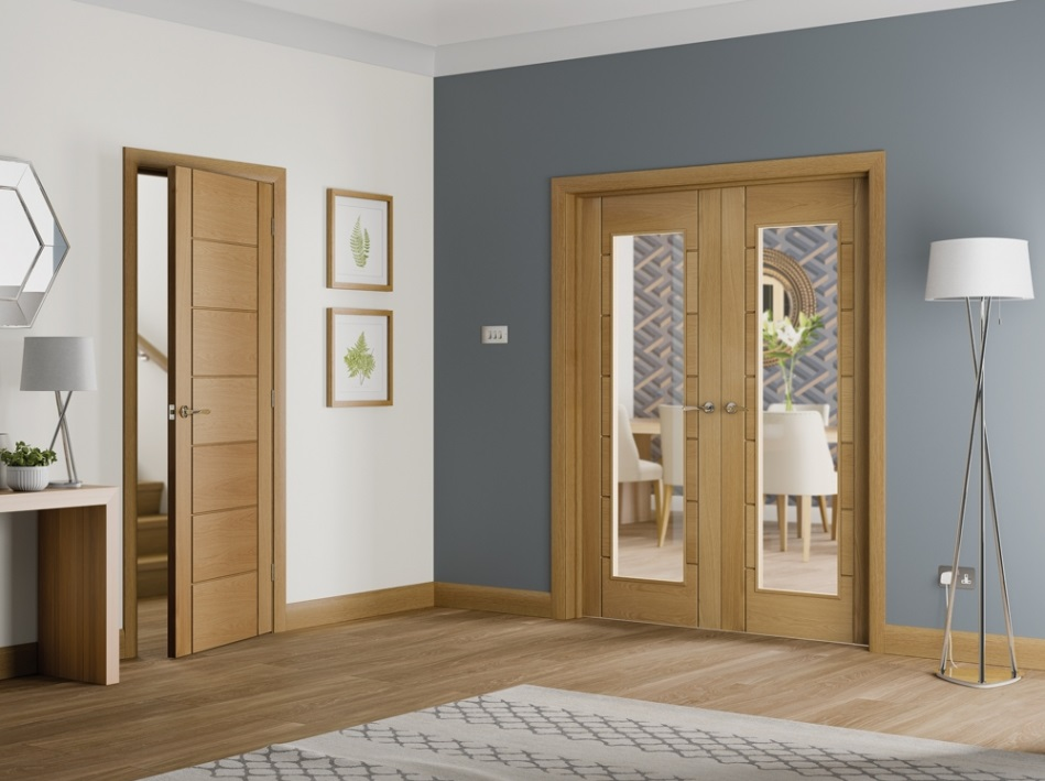 Oak Palermo Glazed French Doors