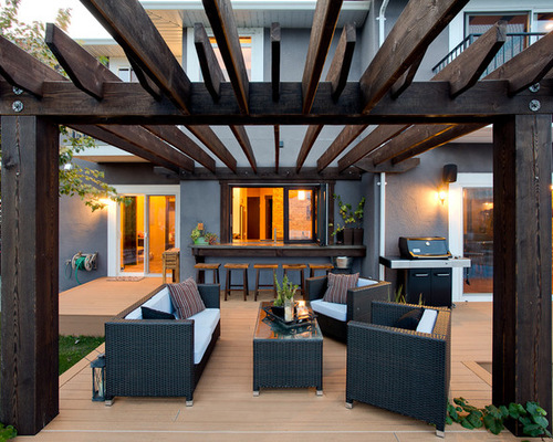 Grill With Wood Pergola