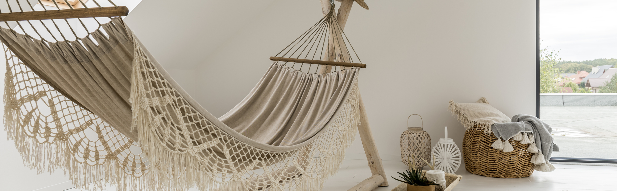 White Hammock With Lace In The Modern Designed Room