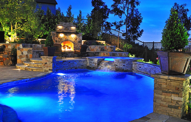 Traditional Pool with Fireplace