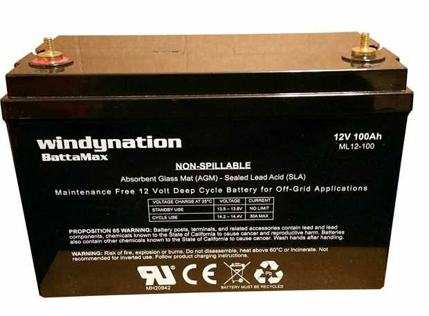 Windynation 12V 100 Amp-Hour Deep Cycle Vrla Battery