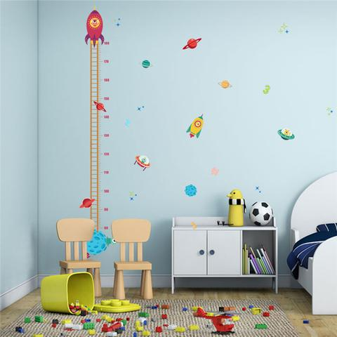 Outer Space Rocket Height Measurement Wall Sticker