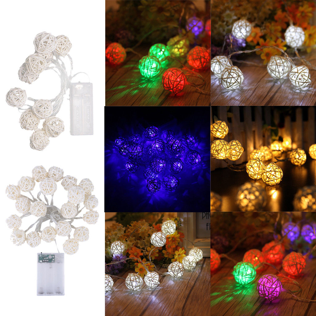 Battery Operated Rattan Ball Fairy Lights