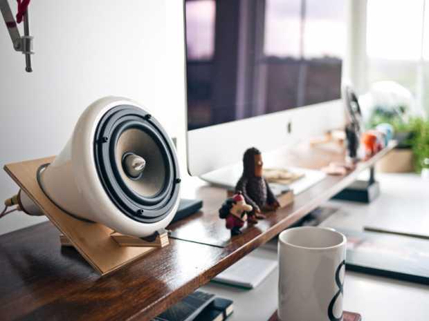 Desk Apple Table Workspace Office Speaker