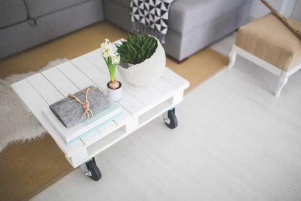Desk Table Wood White Floor Interior