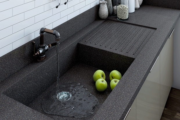 One-Piece Countertop And Sink