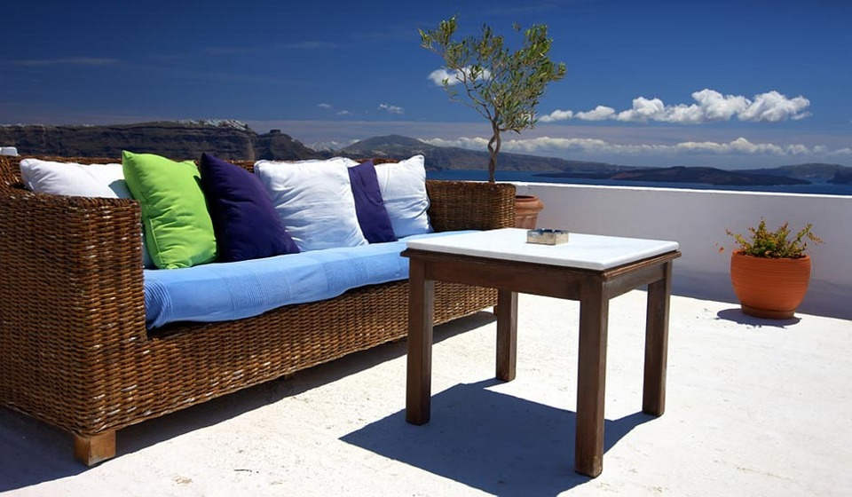 Timber Side Table in the Patio