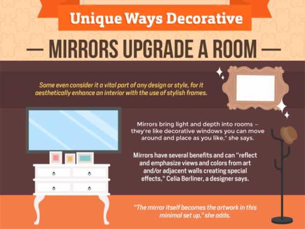 Unique Ways Decorative Mirror Upgrade A Room (Infographic)