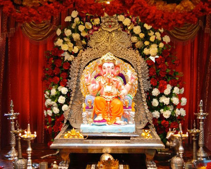 Drapes Decoration For Ganesh Chaturthi
