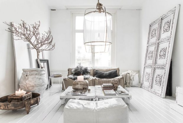 Gorgeous White Living Room Interior Design Ideas
