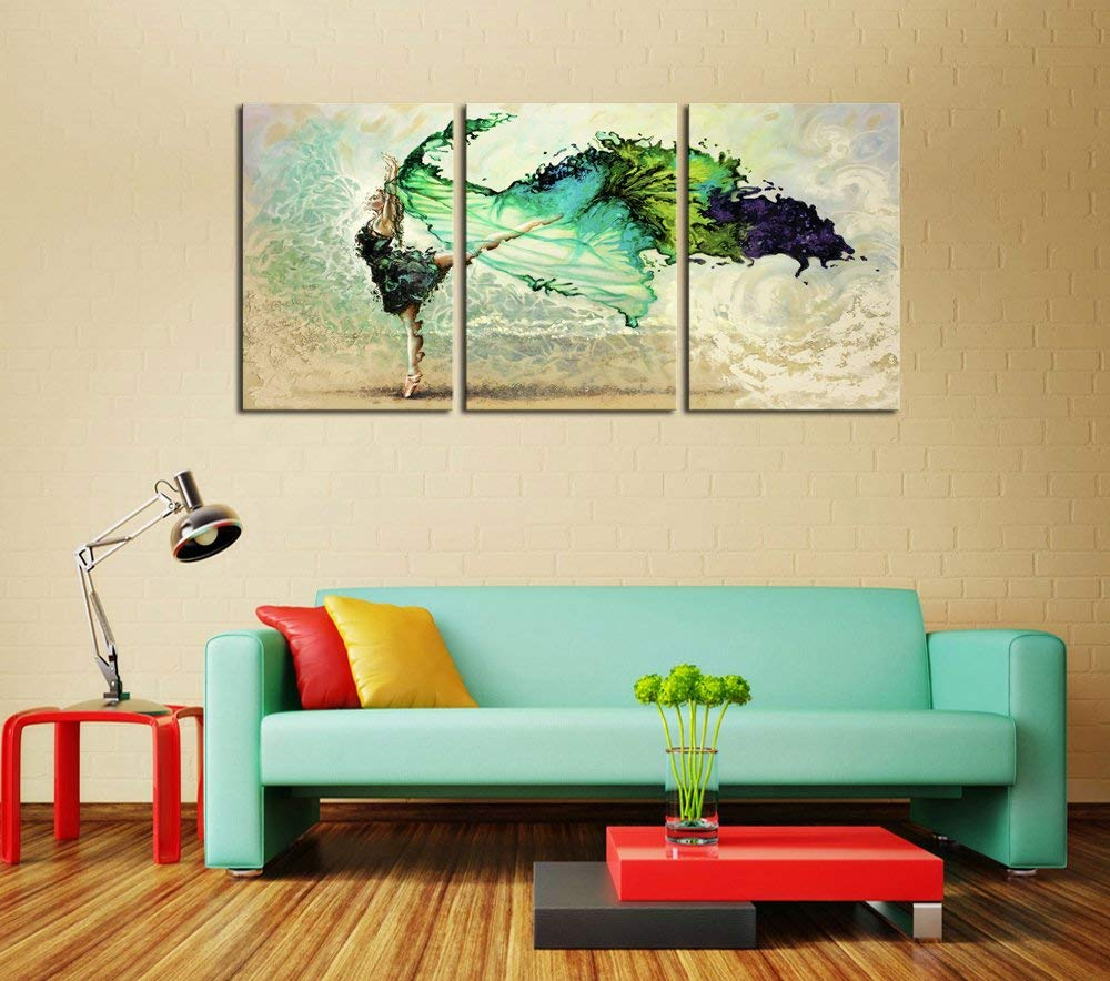 Canvas Wall Art Abstract Water Color Dancers Painting Prints on Canvas Framed Ready to Hang – 3 Panels Fine Art for Home Décor by DZL Art
