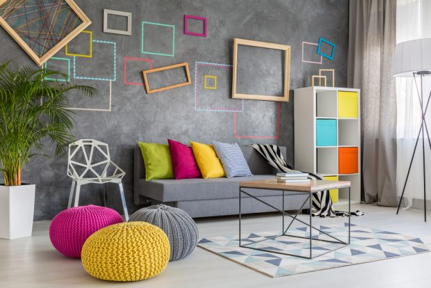 Play With Bright Accents On A Neutral Living Room Backdrop