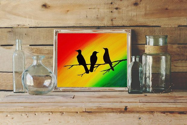 Three Little Birds Wall Art Print Rasta Colors Home Décor by Paintspiratio