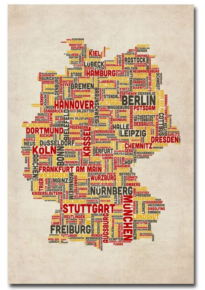 Trademark Fine Art Germany Cities Text Map by Michael Tompsett Canvas Wall Art by Trademark Fine Art