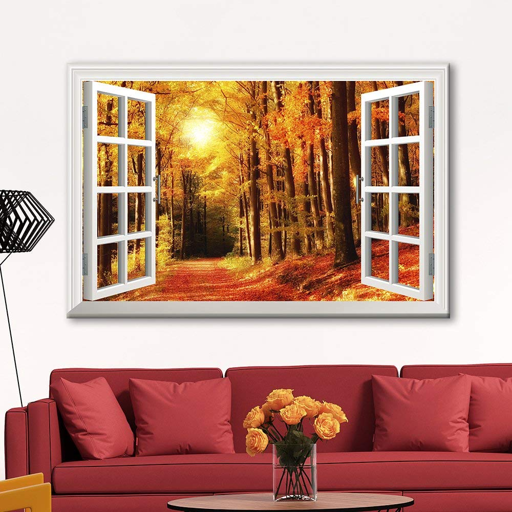 Wall 3D Visual Effect View through Window Frame Canvas Wall Art by wall26