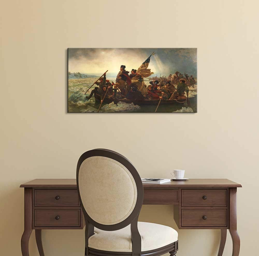Washington Crossing Delaware by Emanuel Gottlieb Leutze, Canvas Wall Art Famous Fine Art Reproduction, World Famous Painting Replica by wall26