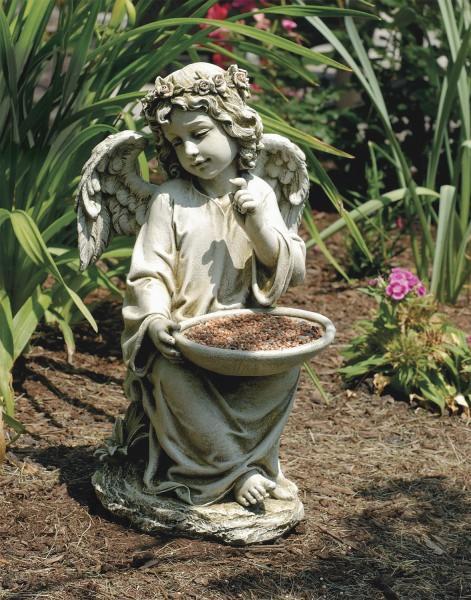 Sitting Garden Angel Holding Bird Feeder Statue 14.5 Inches