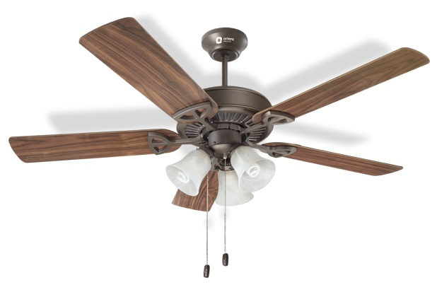 A Wooden Fan With Five Blades And Etched Glass Bowl Design
