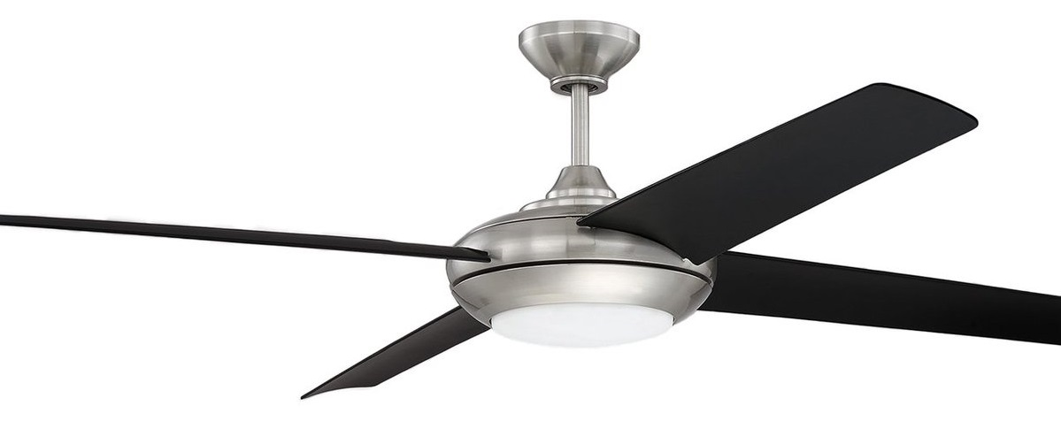 Polished Nickel Fan with LED Light