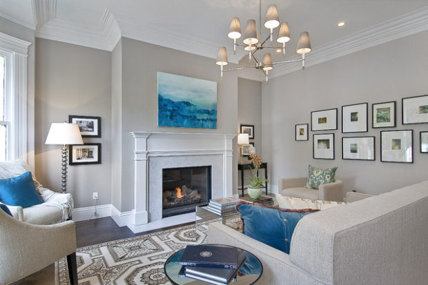 White Color Modern Fireplace
