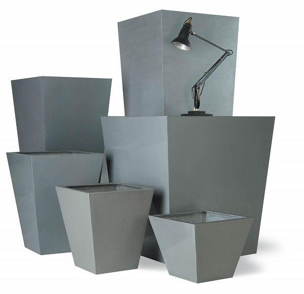Tapered Gray Fiberglass Square Tall Aluminum Planter Pot