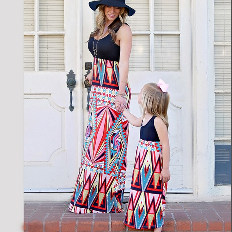 Fashion Mother and Daughter Matching Dresses Women Girls Long Maxi Dress Family Clothes Dress