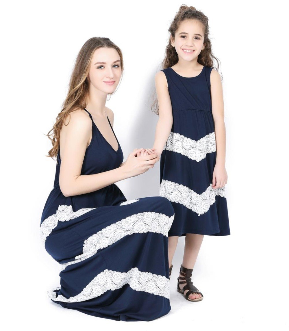 Mother and Daughter Striped Matching Maxi Dress