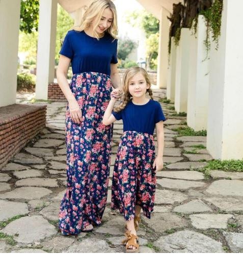 Mother and daughter Floral Matching Maxi Dress