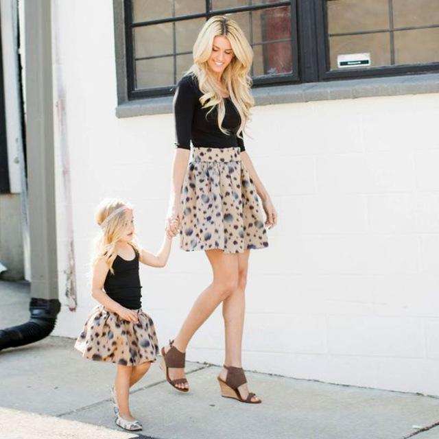 Mother Daughter Family Matching Knee-Length Spring Skirt