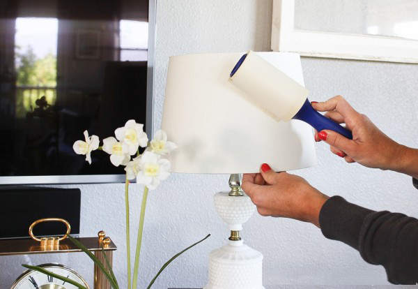 Use A Lint Roller To Clean Your Lampshades