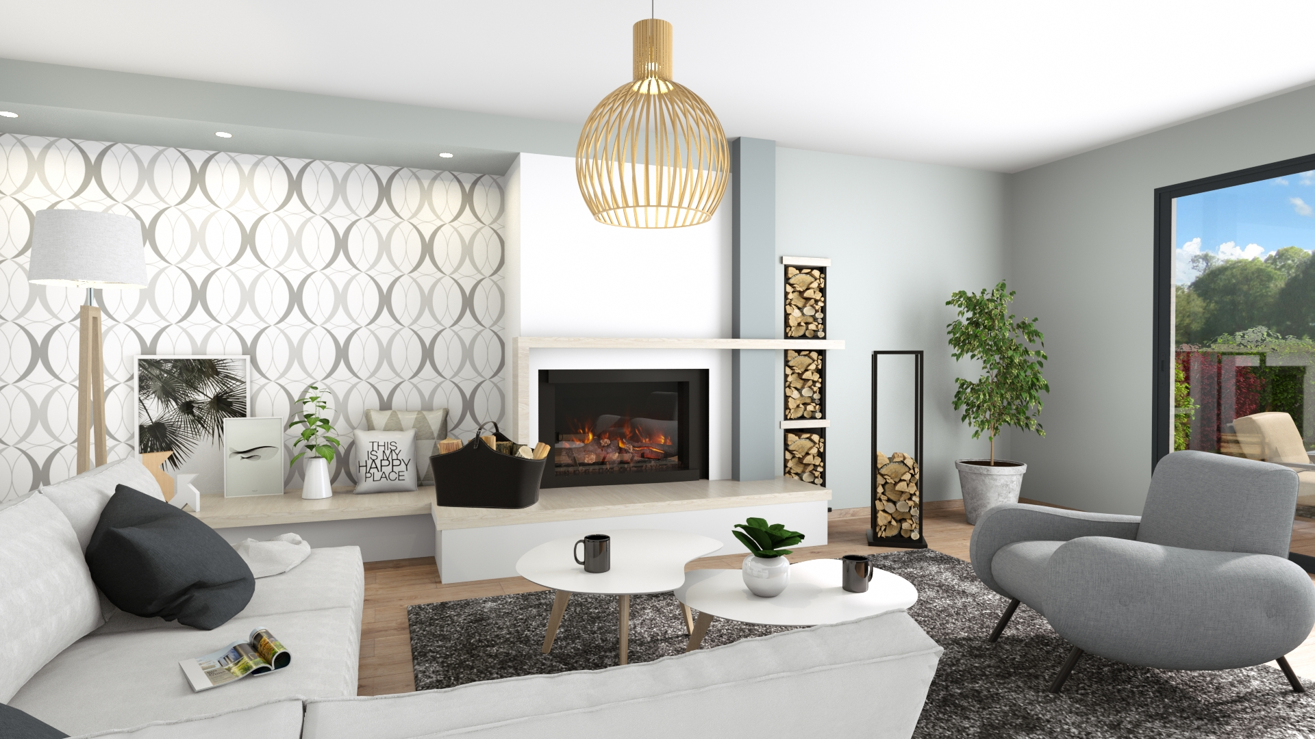 3D Home Interior Layout With Fireplace