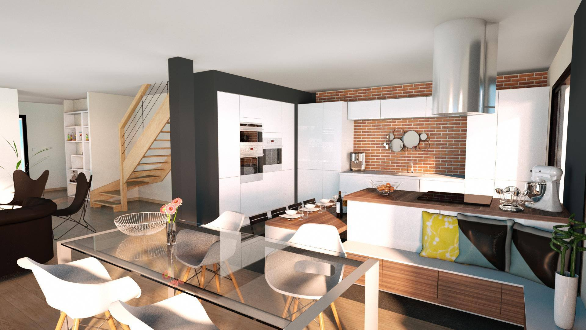 3D Home Rendering Kitchen