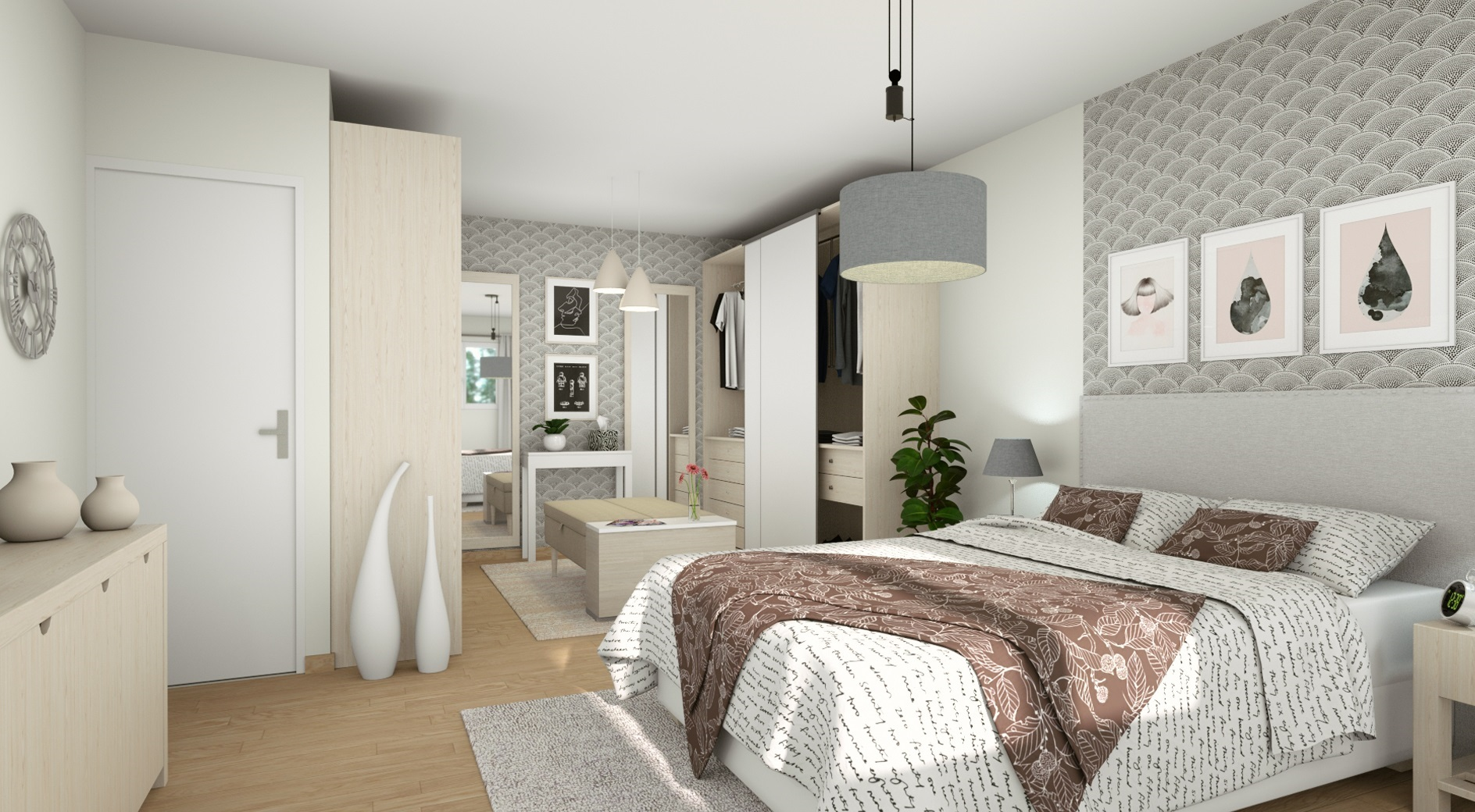 Interior Visual - 3D Layout Of A Master Suite With Dressing Room