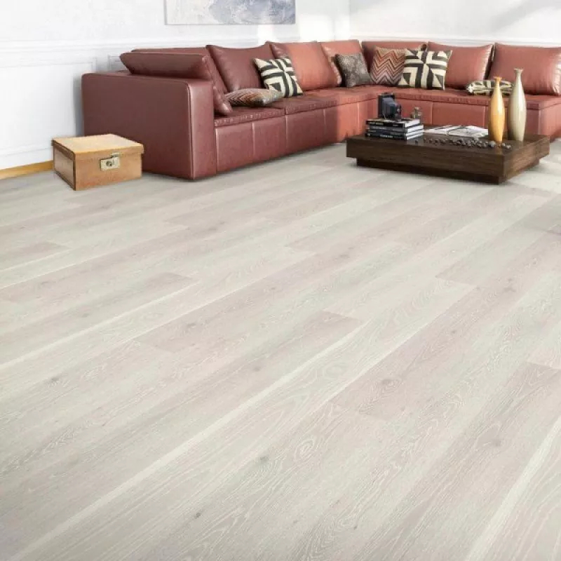 Calder Engineered White Oak Brushed and Lacquered Wood Flooring