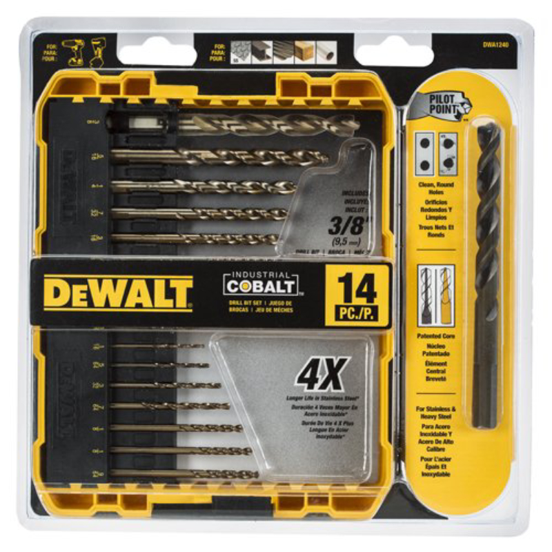 DEWALT 14-Piece Cobalt Drill Bit Set with Pilot Point