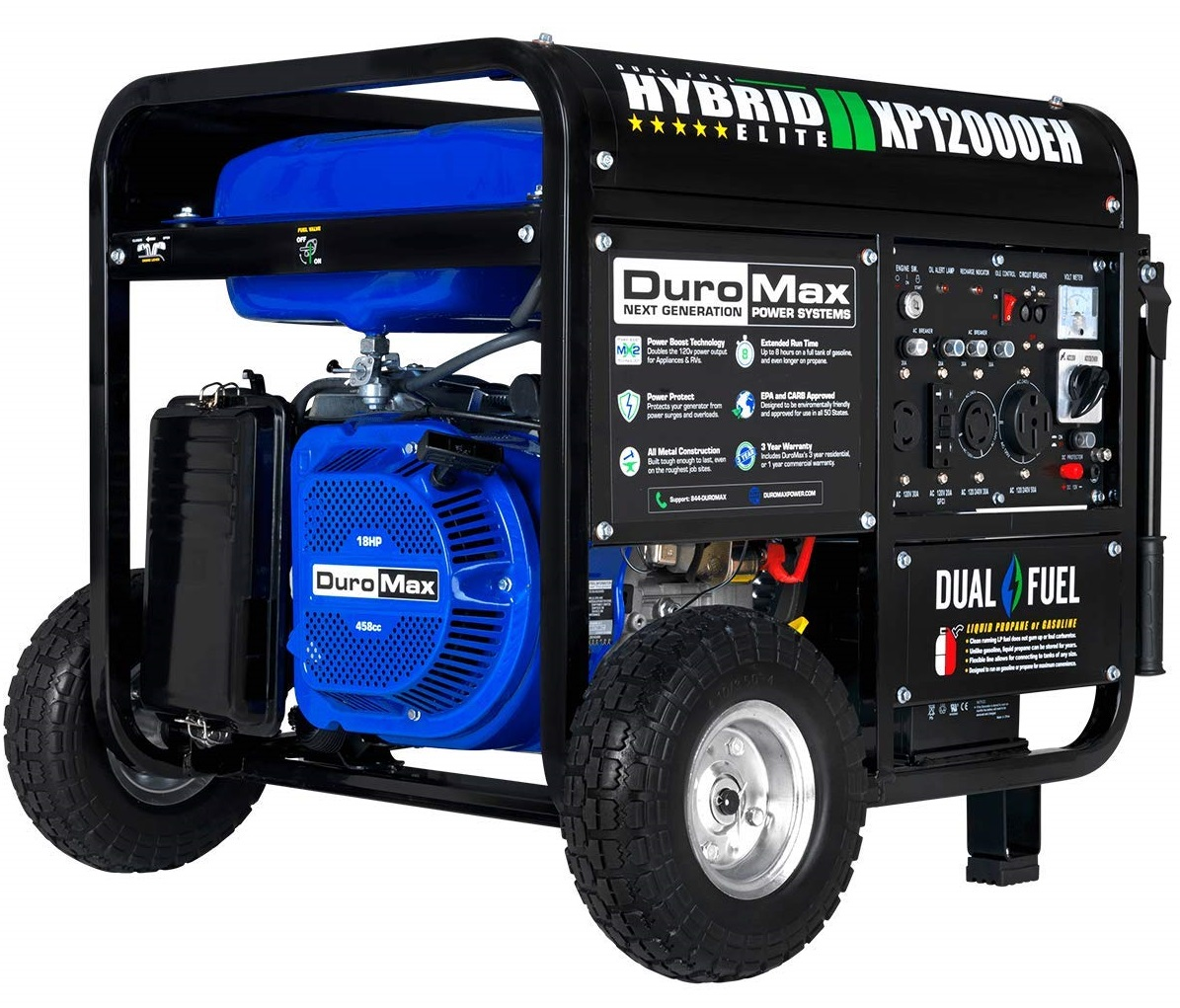 DuroMax Dual Fuel Electric Start Portable Generator