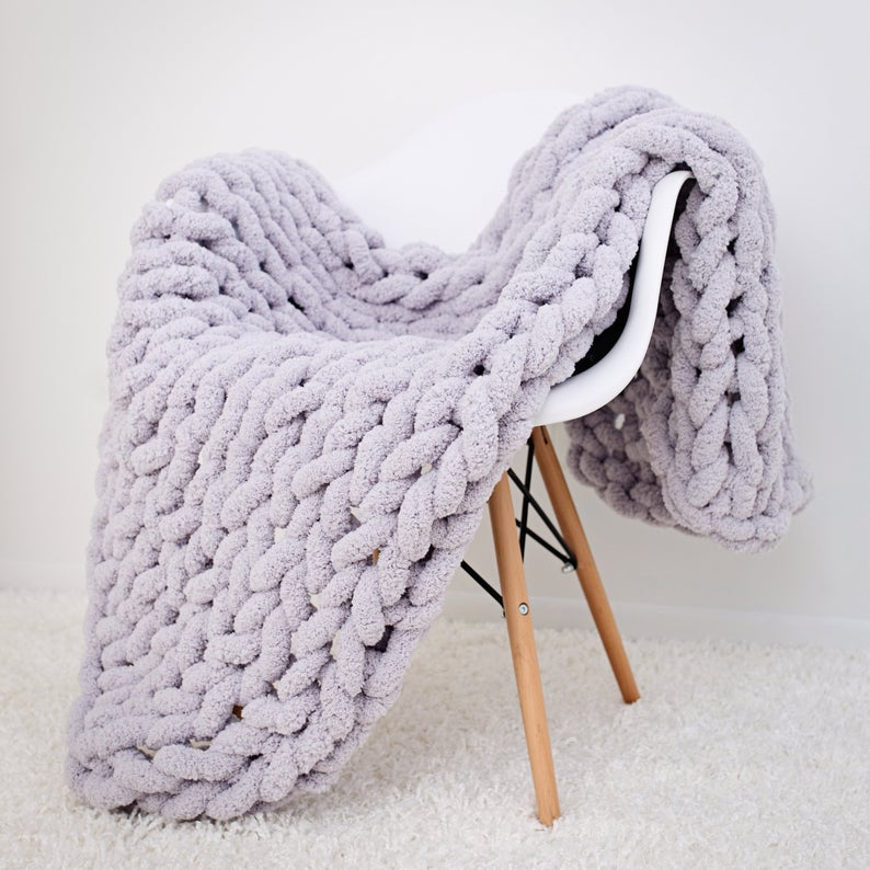 Chunky Knit Blanket Jumbo Chenille