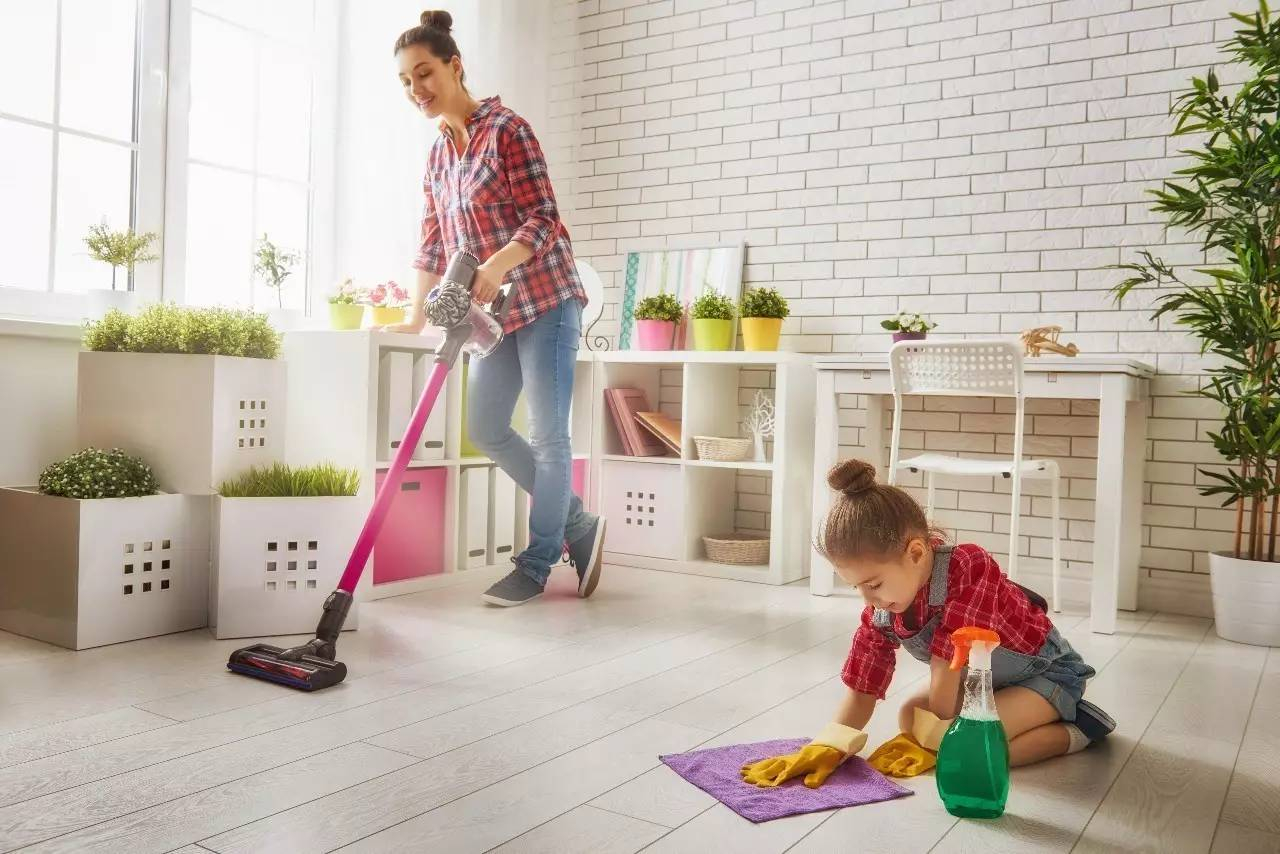 Home Cleaning Helping Kid