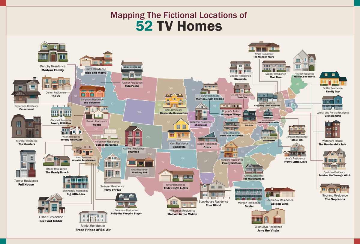 52 American TV Homes Map