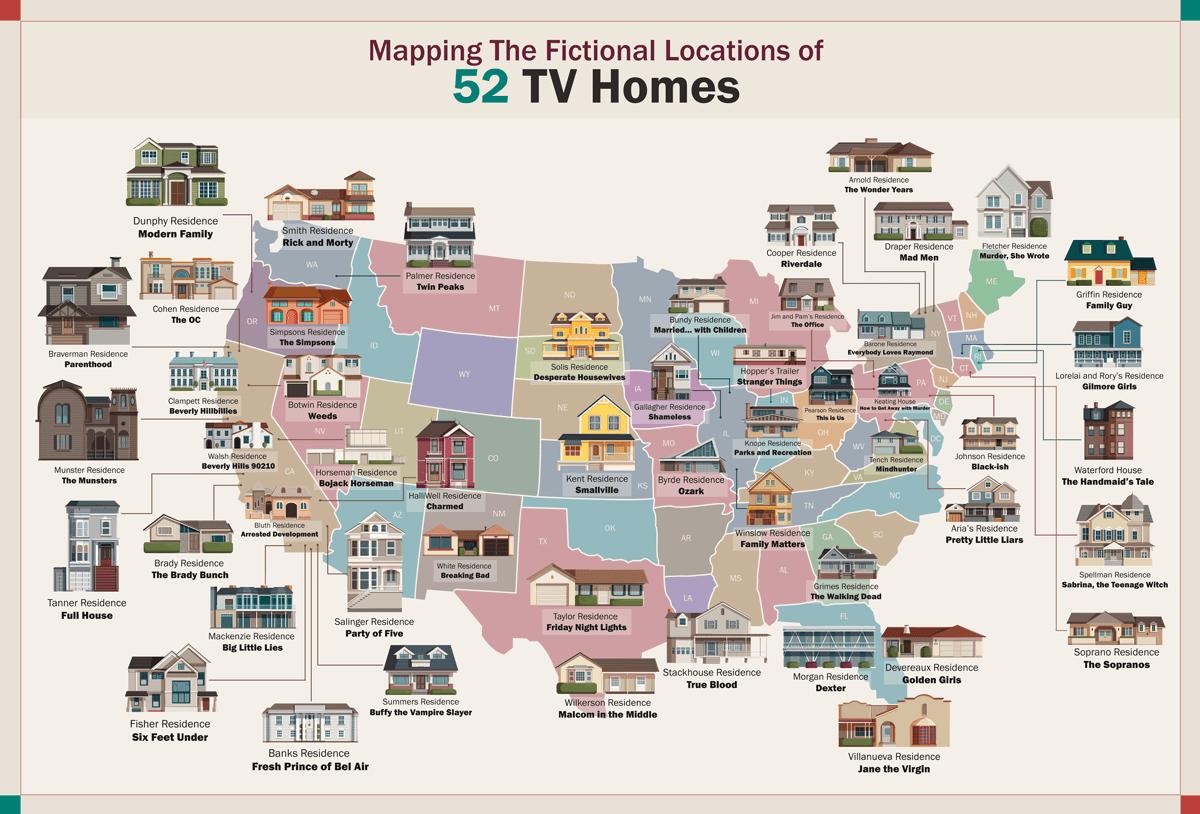 52 American TV Homes Map