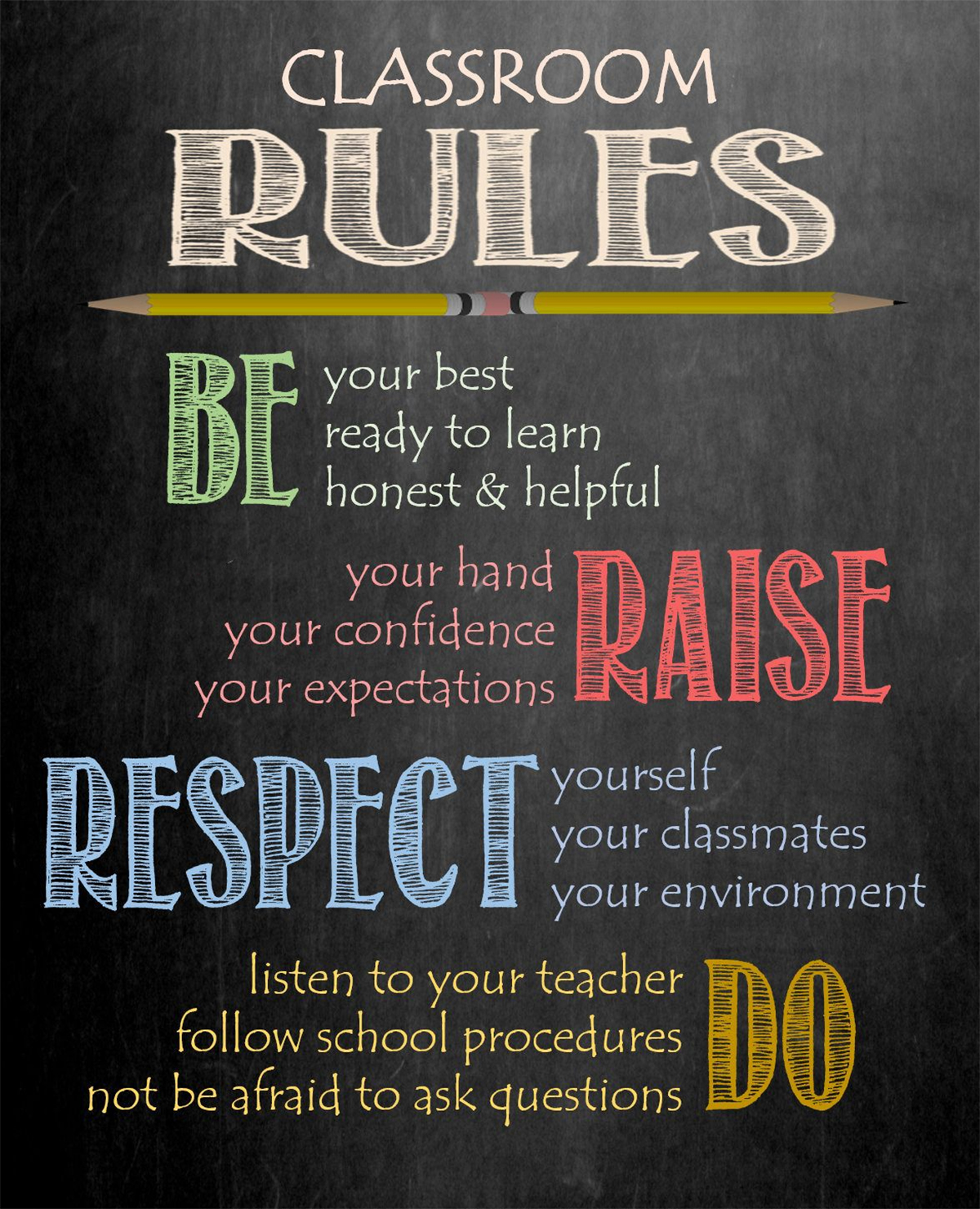 Colorful Classroom Rules on the Walls