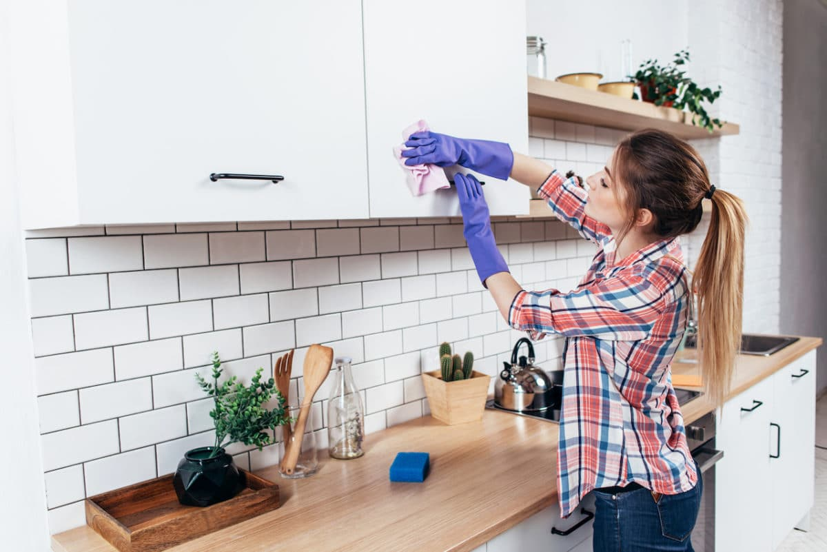 Horizontal Surfaces Of Kitchen Cleaning