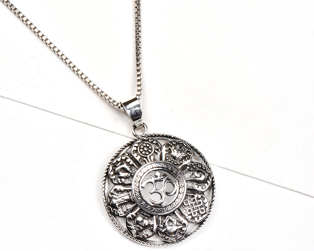 92.5 Sterling silver pendant Aum In Centre With Symbols In Outer Ring