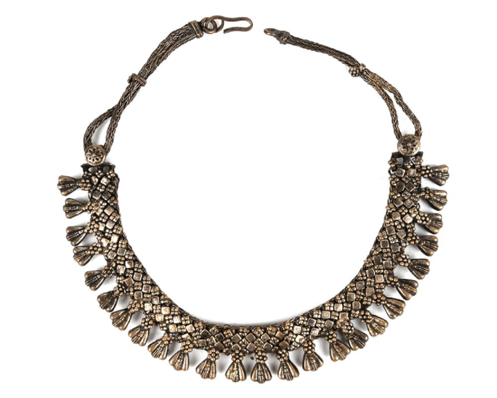 Silver Alloy Oxidized Choker Collar Necklace
