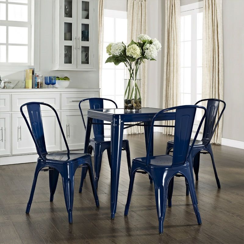 Classic Blue Metal Dining Set