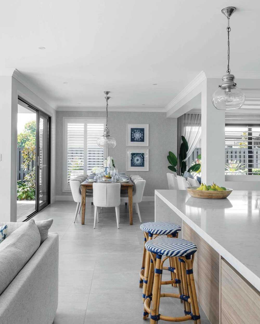 White Plantation Shutter In Dinning Room